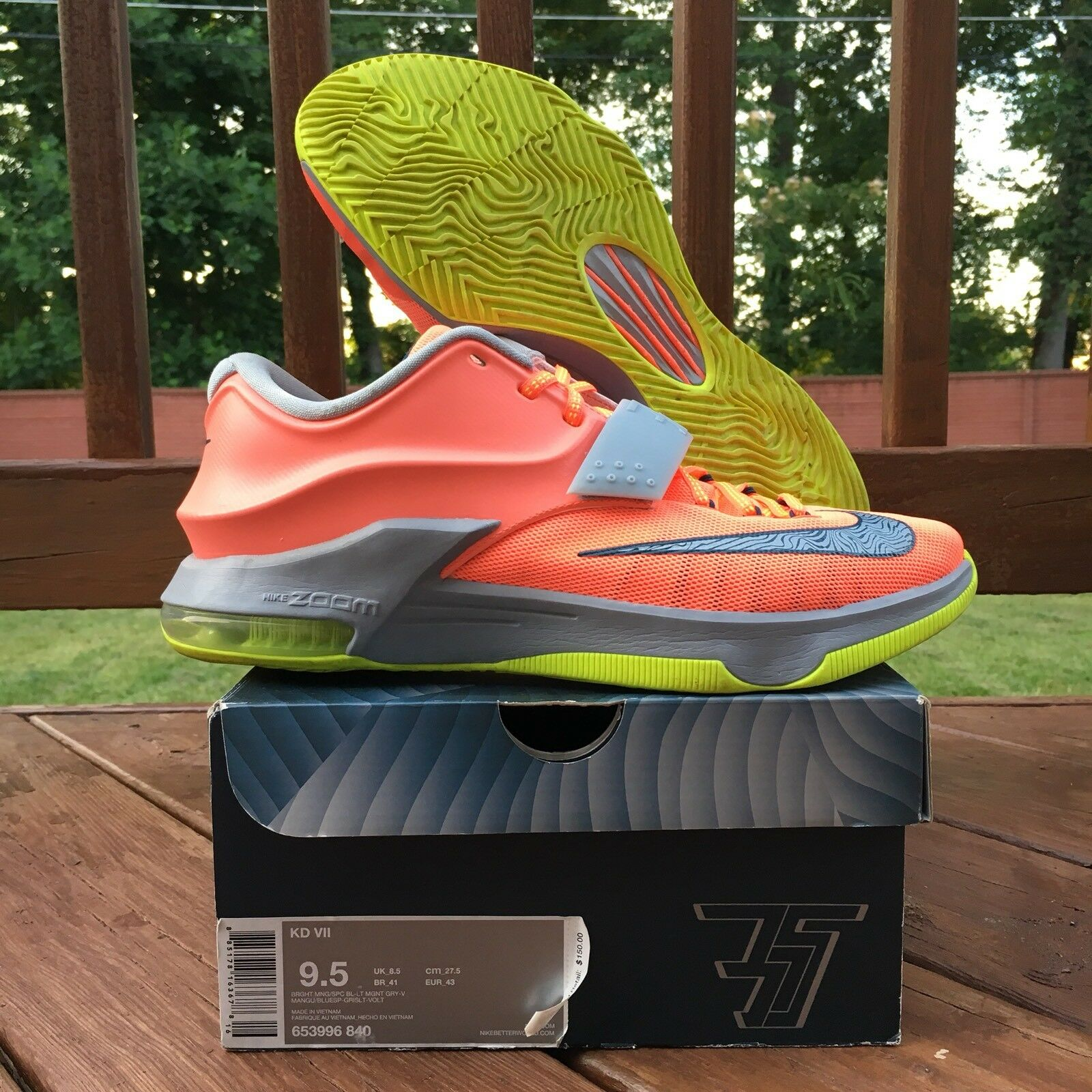 Brand discount Nike Kevin Durant KD7 Bright Mango 653996-840 Men 9.5 Basketball NBA Warriors