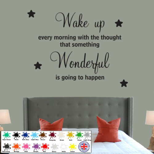 Wonderful bedroom Quote Stars Decals DIY Wall Sticker Family Wallart Wake Up
