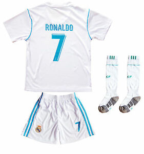 Real Madrid Ronaldo  7 Home White Kids Soccer Jersey   Shorts Youth ... 1e164b5ca