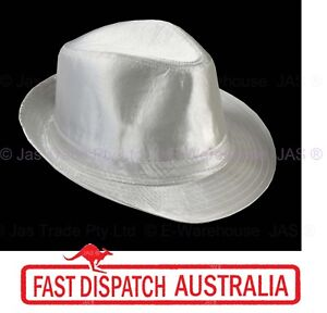 Fancy-Dress-Costume-Party-Dance-Disco-Machael-Jackson-Metallic-Fedora-Hat-SILVER