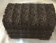ANTIQUE CARVED BOX,DOMED HINGED DOMED LID,TREEN WOODEN WARE INTEREST,GOOD CONDIT