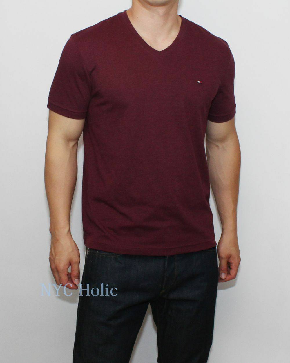 New tommy hilfiger mens classic fit v neck tee shirt t for Tommy hilfiger vintage fit shirt
