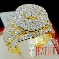 Big Bold Yellow Gold Sterling Silver Ladies 2 Piece Bridal Wedding Ring Band Set