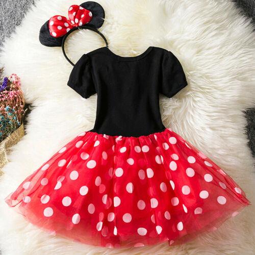 Kis Girls Minnie Mouse Birthday Party Costumes Outfits Princess Tutu Mini Dress