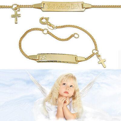 Das Beste Gott Schütze Dich Schutz Engel Kreuz Ident Armband Mit Gravur Name Silber 925 Vg
