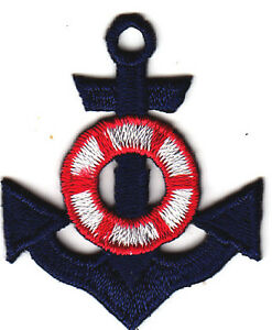Iron On Embroidered Applique Patch NAUTICAL Red Anchor Blue//White Life Preserver