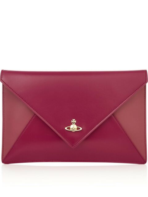 a4bb4fe7d24 NEW Boxed Leather Vivienne Westwood Private Red Pink Envelope Clutch Bag  Handbag