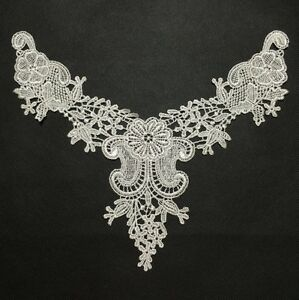 White Lace Trims Venise Embroidered Floral Neckline Collar Sewing Applique