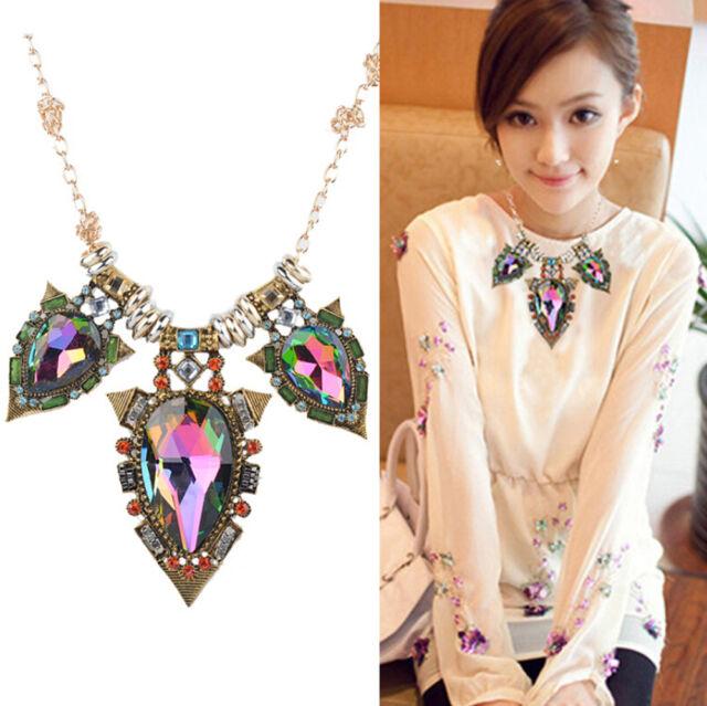 Fashion Jewelry Charm Pendant Chain Crystal Choker Chunky Statement Bib Necklace