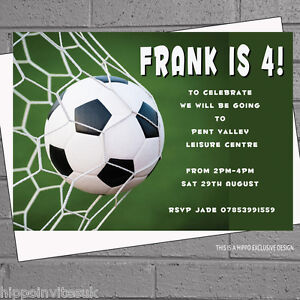 Football Party Soccer Personalised Kids Invitations Birthday x 12
