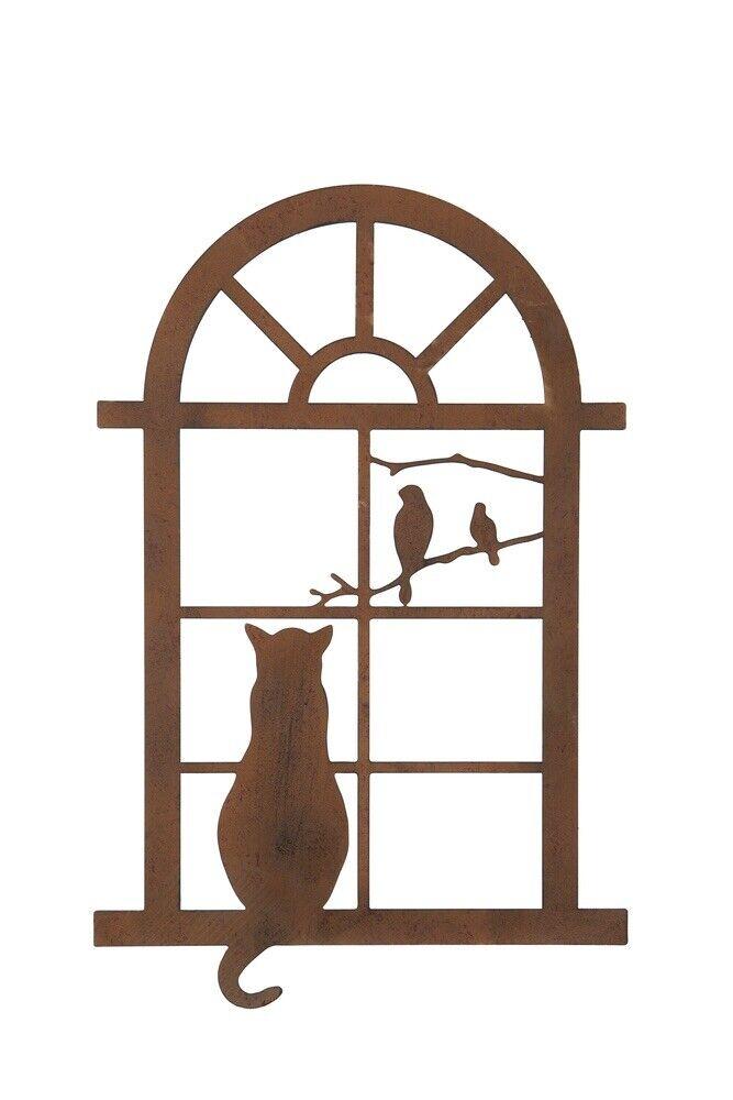 Rusty Metal Cat In The Window Wall Plaque Garden Or Indoors