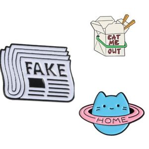 Details about Newspaper FAKE NEWS Eat Me BOX LUNCH Creative Fashion Enamel  Pins Brooch Badge
