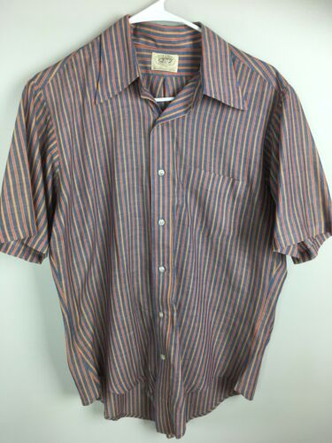 Vintage Golden Vee Shirt Short Sleeve Striped Retro 70s Rockabilly Kramer