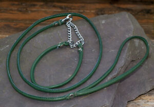 Dog-Show-Lead-and-Collar-Soft-Nappa-Luxury-Leather-Green