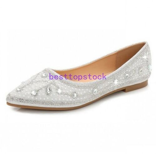 Womens Pointy Toe Wedding Bridal hot  Rhinestones Shoe Slip On Loafer Shoes