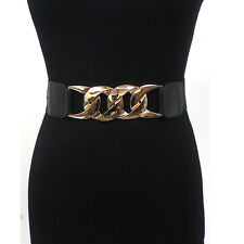 Classy Women Wide Metal Gold Chain Belt Mirror Elastic Stretch Waist Band obi