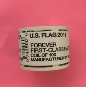 100 USPS US Flag 2017 Forever Stamps - 1 roll