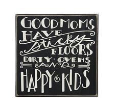 Dirty Ovens and Happy Kids Retro Plaque with Hoop Good Mums Have Sticky Floors
