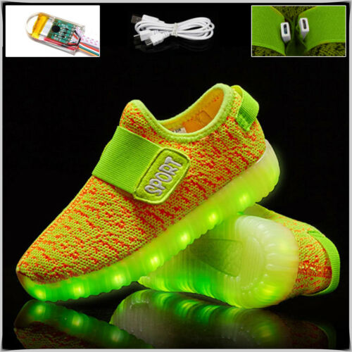Kids Boys Girls Light Up Shoes LED Flashing Trainers Casual Sneakers Uk Size Lot