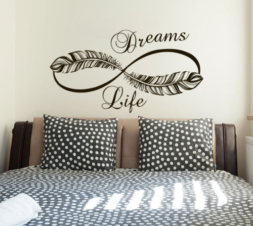 Infinity Wall Decals Life Dreams Decals Home Vinyl Stickers Feathers Decal S99