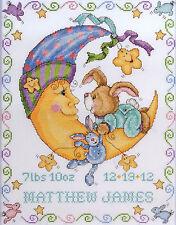 Cross Stitch Kit ~ Tobin Bunny and Moon Baby Birth Record #T21763