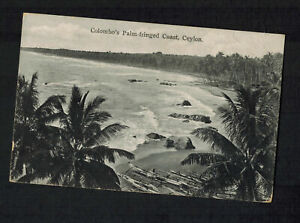 1930-Colombo-Ceylon-Picture-postcard-Cover-to-France-Palm-Trees-on-Coast