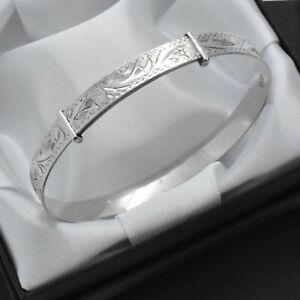 Vintage-Solid-925-Sterling-Silver-Scroll-Design-Adjustable-Adult-Bangle-Bracelet