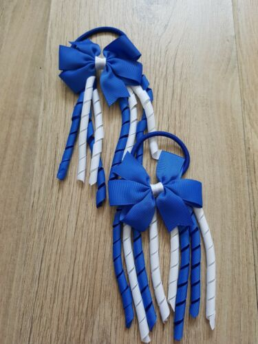 Handmade Girls  Hair  Bobbles Royal Blue  Sold In Pairs CLOSING DOWN SALE