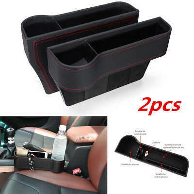 2PCS Car Seat Gap Slit Pocket Phone Coin Card Storage Organizer Bag PU Leather