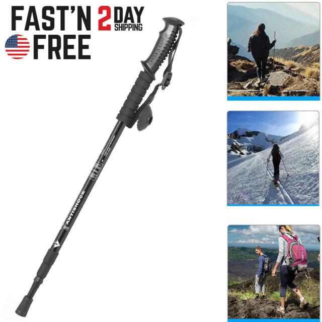 1Pair Telescoping 4 Section Trekking Walking Hiking Sticks Pole Stick Anti-shock