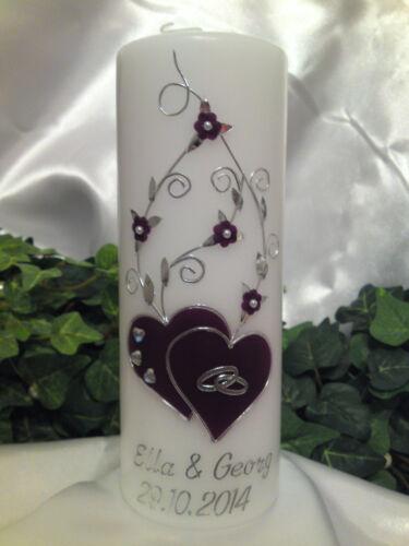 Hochzeitskerze 200//70mm Lila//Silber Designerkerze Blumenbuket Super Edel H083