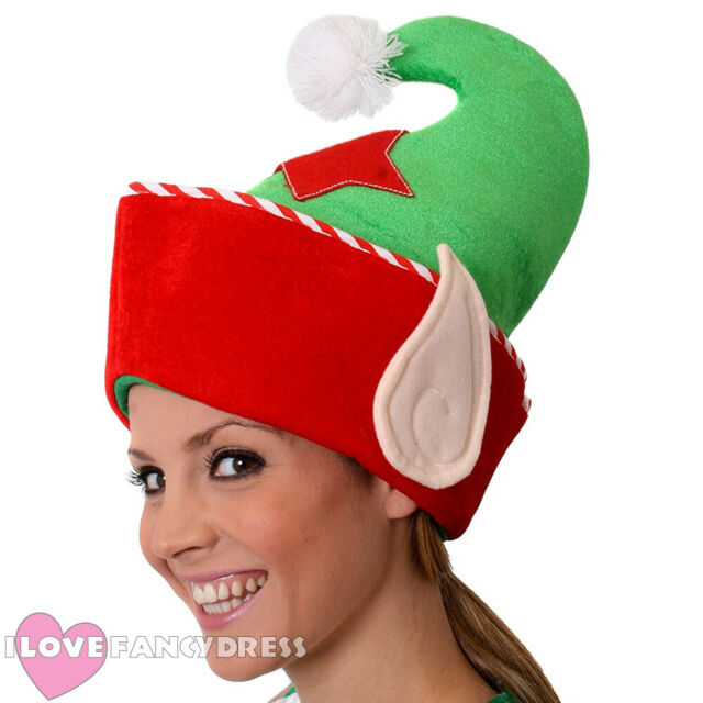 CHRISTMAS ADULT VELOUR ELF HAT WITH BELLS RED GREEN XMAS PARTY FANCY DRESS FUN