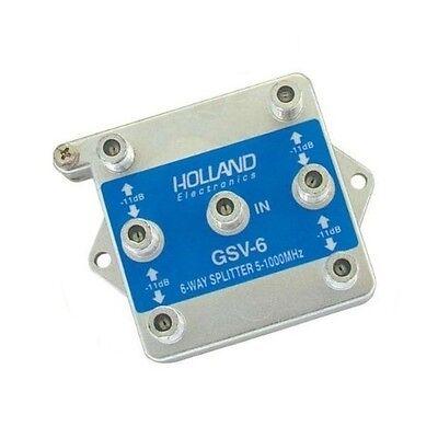 6-WAY CABLE TV ANTENNA SIGNAL SPLITTER VERTICAL PORT 1 GHz HOLLAND GSV-6