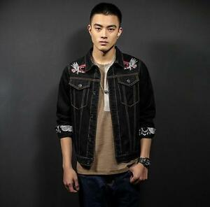 8aca7eeb700 Image is loading Youth-Mens-Embroidery-Birds-Black-Jean-Jacket-Students-