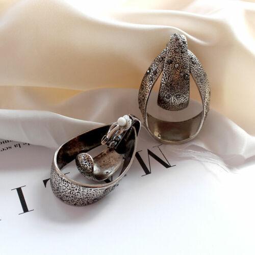 Boucles d/'oreilles Gros CLIP ON Geometrique Art Deco Anneau Ovale Simple J16