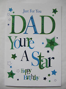 Brilliant glitter coated just for you dad youre a star birthday image is loading brilliant glitter coated just for you dad youre m4hsunfo