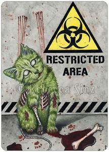 Gothic-Fantasy-ZOMBIE-CAT-Art-ACEO-PRINT-halloween-biohazard-blood-horror
