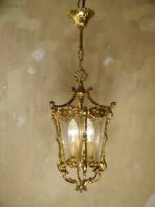 SOLID CLASSIC BRASS LANTERN SOLID CEILING LAMP FIXTURES CHANDELIER GLASS