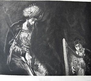 REMBRANDT-Eau-Forte-de-DECISY-Circa-1884-SAUL-et-DAVID
