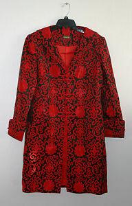 noire Sz Collection Veste Manteau Lanvie Nwot soie rouge en Lounge 10 Vintage 0wTqS
