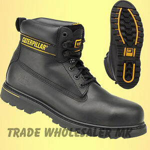 Caterpillar Holton Black Steel Toe Cap Safety Work Boots Cat Shoes