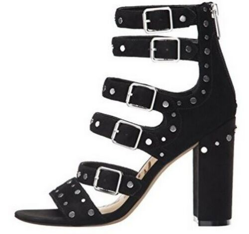 Women's Shoes Sam Edelman York Gladiator Sandals Heels Studs Suede Black