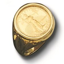 22K FINE GOLD 1/10 OZ US LIBERTY COIN in 14k gold Ring  20 MM    Sz 9