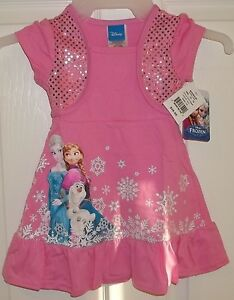 Baby Girls Disney Frozen Pink Dress Amp Shrug Size 2t 2