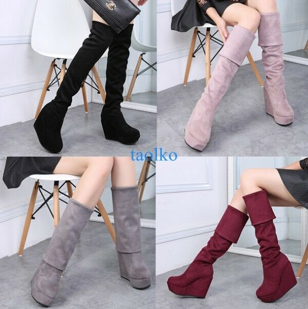 Women's Winter Warm Platform Wedge High Heel Over Knee Thigh Boots Party shoeses