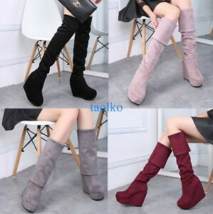 Women-039-s-Winter-Warm-Platform-Wedge-High-Heel-Over-Knee-Thigh-Boots-Party-Shoees