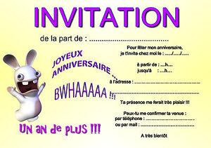 Détails Sur 5 Ou 12 Cartes Invitation Anniversaire Lapin Réf 263