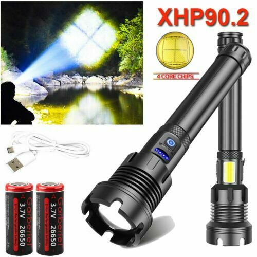 990000LM XHP90.2 XHP70.2 XHP50 26650 USB Rechargeable Flashlight Zoom Torch Lamp