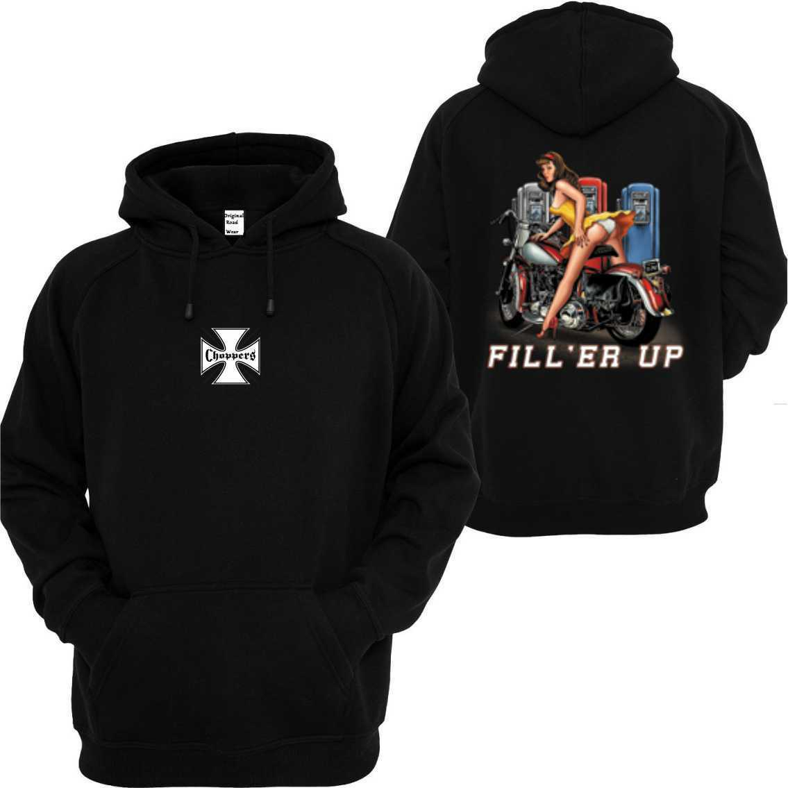 Hoody Vintage HD Biker Chopper & Oldschool Motif Fill Er Up
