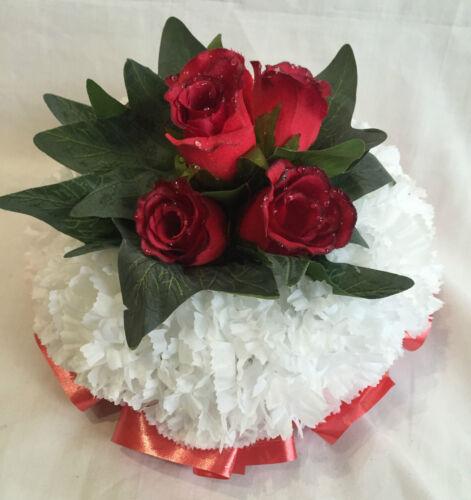 Artificial Silk Flower Wreath Red Rose Posy Tribute Memorial False Crem Grave